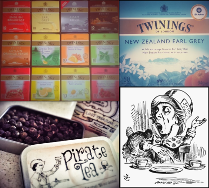 Twinings Tea Chest, New Zealand Earl Grey, Pirate Tea, and my favourite fictional tea-drinker: the Mad Hatter.
